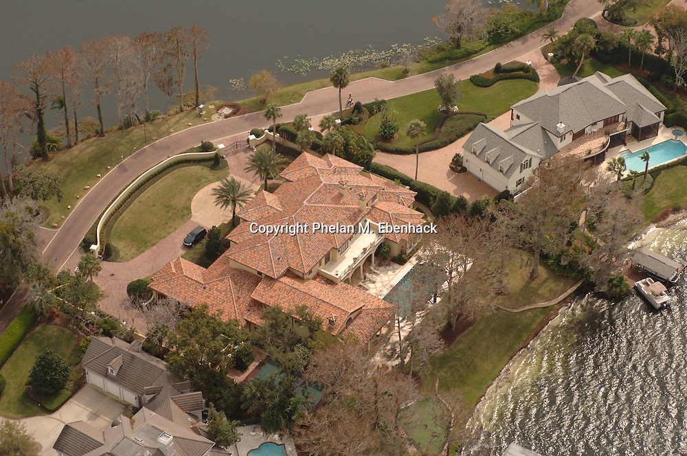 An aerial view of the waterfront home of Boston Celtics head basketball coach Doc Rivers, center, in Winter Park, Florida.