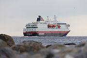 The passenger boat MS Richard With sailing outside Flø, Norway | Hurtigruteskipet MS Richard With seiler forbi Flø, Norge.