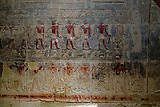Wall fresco of men carrying jars of provisions for the afterlife in the mastaba tomb built by Kagemni, vizier of the Pharaoh Teti