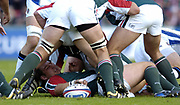 Leicester, England UK., 9th October 2004,  Zurich Premiership Rugby, Leicester Tigers vs Bath Rugby, Welford Road,<br /> [Mandatory Credit: Peter Spurrier/Intersport Images],<br /> Tigers prop Julian White, makes the ball available to play.