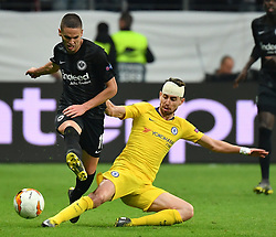 FRANKFURT May 3, 2019  Mijat Gacinovic (L) of Frankfurt vies with Jorginho of Chelsea during the UEFA Europa League semifinal first leg match between Eintracht Frankfurt and Chelsea FC in Frankfurt, Germany, on May 2, 2019. The match ended in a 1-1 draw. (Credit Image: © Ulrich Hufnagel/Xinhua via ZUMA Wire)