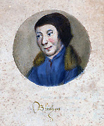 Painting of Gilles Binchois, (c. 1400 – September 20, 1460). A highly influential Franco-Flemish composer, one of the earliest members of the Burgundian School, and one of the most famous composers of the early 15th century. His works were cited, borrowed and used as source material more often than those by any other composer of the time.