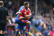 GOAL - James McArthur of Crystal Palace celebrates with Damien Delaney of Crystal Palace after scoring from outside the box for his sides 3rd goal to make it 3-0. Premier League match, Crystal Palace v Stoke city at Selhurst Park in London on Sunday 18th Sept 2016. pic by John Patrick Fletcher, Andrew Orchard sports photography.