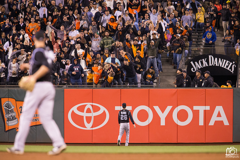 Colorado Rockies left fielder David Dahl (26) watches a a home run hit by San Francisco Giants catcher Buster Posey (28) goes over the left field wall at AT&T Park in San Francisco, Calif., on September 27, 2016. (Stan Olszewski/Special to S.F. Examiner)