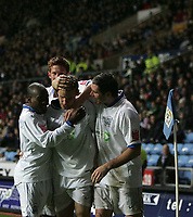 Photo: Lee Earle.<br /> Coventry City v Southend United. Coca Cola Championship. 30/12/2006. Southend player congratulate Mark Gower (C) after he scored their equalising goal.
