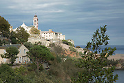 View towards Bastia Cathedral in the Citadelle on 16th September 2017 in Bastia, Corsica, France. Bastia is a French commune in the Haute-Corse department of France located in the north-east of the island of Corsica at the base of Cap Corse. Bastia is the principal port and commercial town of the island. The inhabitants of Bastia are known as Bastiais or Bastiaises.