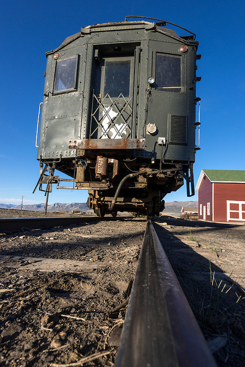 Vintage passenger coach car in the rail yard of the historic Nevada Northern Railway in Ely, Nevada.
