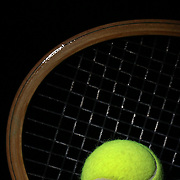 A studio shot of a Tennis Ball and Tennis Racquet. 20th October 2012. Photo Tim Clayton