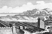Reconstruction of Julius Caesar's siege of Marseilles, showing the musculus or covered way to protect engineers approaching walls of besieged city. 18th century engraving.