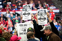 October 4, 2018 - Rochester, Minnesota, USA - Signs protesting Keith Ellison were distributed at the Trump rally in Rochester.        ] GLEN STUBBE • glen.stubbe@startribune.com   Thursday, October 4, 2018     ..President Donald Trump makes his second visit to Minnesota, with a rally on Thursday night at Mayo Civic Center in Rochester. (Credit Image: © Glen Stubbe/Minneapolis Star Tribune via ZUMA Wire)