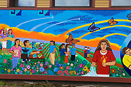 The mural at CAPACES Leadership Institute painted by Juanishi Orozco in Downtown Woodburn, Oregon
