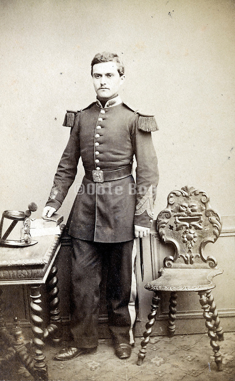 young adult man posing in military uniform France 1880s