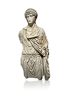 Roman statue of a Man. Marble. Perge. 2nd century AD. Inv no 2016/154. Antalya Archaeology Museum; Turkey. Against a white background. .<br /> <br /> If you prefer to buy from our ALAMY STOCK LIBRARY page at https://www.alamy.com/portfolio/paul-williams-funkystock/greco-roman-sculptures.html . Type -    Antalya     - into LOWER SEARCH WITHIN GALLERY box - Refine search by adding a subject, place, background colour, museum etc.<br /> <br /> Visit our ROMAN WORLD PHOTO COLLECTIONS for more photos to download or buy as wall art prints https://funkystock.photoshelter.com/gallery-collection/The-Romans-Art-Artefacts-Antiquities-Historic-Sites-Pictures-Images/C0000r2uLJJo9_s0