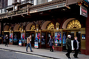 People passing by outside the Prince Edward Theatre on Old Compton Street, Soho. West End musical Jersey Boys is on in this the heart of Theatreland.