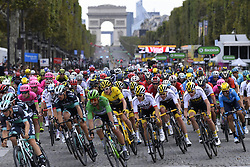 July 29, 2018 - Paris, France - British rider GERAINT THOMAS of Team Sky wearing the yellow jersey of overall leader on the Champs Elysees during the last stage of the 105th edition of the Tour de France cycling race, 116km from Houilles to Paris, France. (Credit Image: © Panoramic via ZUMA Press)