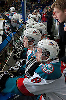 KELOWNA, CANADA -FEBRUARY 5: The Kelowna Rockets sit on the bench during second period against the Red Deer Rebels on February 5, 2014 at Prospera Place in Kelowna, British Columbia, Canada.   (Photo by Marissa Baecker/Getty Images)  *** Local Caption *** Kelowna Rockets;