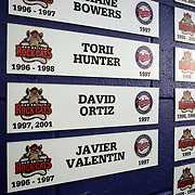 Plaques of former New Britain Rock Cats player on the wall at New Britain Stadium during the New Britain Rock Cats Vs Binghamton Mets Minor League Baseball game at New Britain Stadium, New Britain, Connecticut, USA. 2nd July 2014. Photo Tim Clayton
