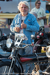 Frank Westfall after crossing the finish line at the end of the first day of the Motorcycle Cannonball Race of the Century. Stage-1 from Atlantic City, NJ to York, PA. USA. Saturday September 10, 2016. Photography ©2016 Michael Lichter.