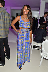 ALEXANDRA BURKE at the OFFtheGRID event - a solar-powered party on a London rooftop to support our renewable energy future hosted by Dame Vivienne Westwood supported by the Trillion Fund at 151-155 New North Road, London N1 on 4th September 2014.