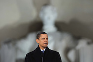 """President Elect Barack Obama and his wife Michelle at the """"We Are One""""  The Obama Inaugural Celebration at the Lincoln Memorial on January 18, 2009.  Photo by Dennis Brack"""