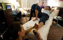 Physiotherapist Urban Komac and Marcel Rodman of Slovenian National Ice Hockey team in a massage room in the hotel Holiday Inn at IIHF 2011 World Championship Slovakia, on May 4, 2011 in Bratislava, Slovakia. (Photo By Vid Ponikvar / Sportida.com)