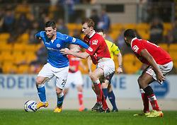 St Johnstone's Michael O'Halloran on way to scoring their second goal. St Johnstone 2 v 1 Ross County, Scottish Premiership 22/11/2014 at St Johnstone's home ground, McDiarmid Park.
