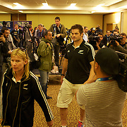 New Zealand captain Richie McCaw leaving a press conference in Auckland at the IRB Rugby World Cup tournament, Auckland, New Zealand, 22nd October 2011. Photo Tim Clayton...