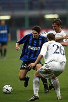 Milano 30/09/2003 <br />Champions League <br />Inter Dynamo Kyiv 2-1 <br />Javier Zanetti (Inter) challenged by two Dynamo players<br />Foto Andrea Staccioli Graffiti