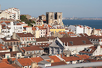 view of city center of Lisbon with Santo Anronio da Sé cathedral