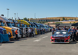 June 22, 2018 - Sonoma, CA, U.S. - SONOMA, CA - JUNE 22:  The crew for William Byron, driving the #(24) Chevrolet for Hendrick Motorsports moves their car through the inspection area on Friday, June 22, 2018 at the Toyota/Save Mart 350 Practice day at Sonoma Raceway, Sonoma, CA (Photo by Douglas Stringer/Icon Sportswire) (Credit Image: © Douglas Stringer/Icon SMI via ZUMA Press)