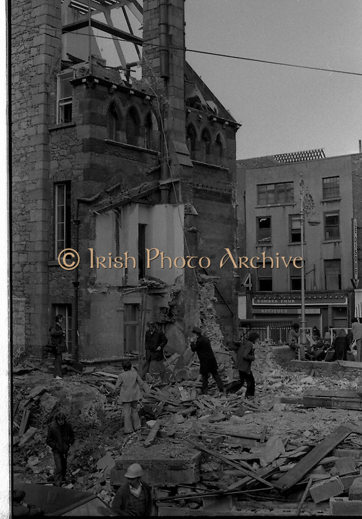 05/04/1978.04/05/1978.5th April 1978.Photograph showing the demolition of Molesworth Hall, Dublin. The destruction of the building which was built in 1857 was controversial leading to protests and a sit in.