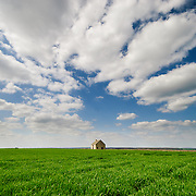 Abandoned old farmhouse in a green field of grass in the French countryside near Chablis