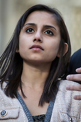 © licensed to London News Pictures. London, UK. 15/12/2012. The daughter Lisha of nurse Jacinta Saldanha talking to the media outside Westminster Cathedral in London after a memorial service with Keith Vaz (not pictured) held for Jacinta Saldanha who committed suicide. Photo credit: Tolga Akmen/LNP