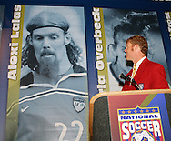 28 August 2006: Alexi Lalas laughs at a picture of himself during his Hall of Fame induction speech. The National Soccer Hall of Fame Induction Ceremony was held at the National Soccer Hall of Fame in Oneonta, New York.