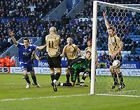Photo: Steve Bond/Richard Lane Photography. Leicester City v Huddersfield Town. Coca Cola League One. 24/01/2009. Matty Fryatt (L) turns to celebrate as his header crosses the line