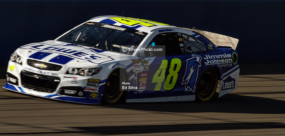 Fontana, CA/USA (Saturday, March 23, 2013) -  NASCAR Sprint Cup Series Driver Jimmie Johnson drives car #48 during practice at the Auto Club Speedway in Fontana, CA   PHOTO © Eduardo E. Silva/SILVEX.PHOTOSHELTER.COM.