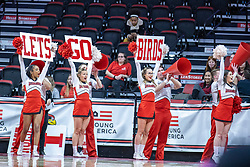 """NORMAL, IL - February 27: Redbird Cheerleaders """"Lets go birds"""" during a college women's basketball game between the ISU Redbirds and the Bears of Missouri State February 27 2020 at Redbird Arena in Normal, IL. (Photo by Alan Look)"""