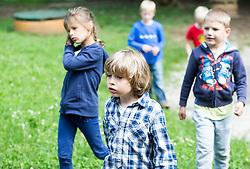 Otroci pri igri na igriscu, vrtec Rozle, skupina Metulji, on May 25, 2015 in Ljubljana Slovenia. Photo by Vid Ponikvar / Sportida