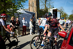 Kasia Niewiadoma (POL) finds a spot to hang out before La Flèche Wallonne Femmes 2018, a 118.5 km road race starting and finishing in Huy on April 18, 2018. Photo by Sean Robinson/Velofocus.com