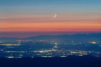 Crescent moon over Vancouver British Columbia