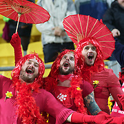Welsh fans celebrate after their victory during the Ireland V Wales Quarter Final match at the IRB Rugby World Cup tournament. Wellington Regional Stadium, Wellington, New Zealand, 8th October 2011. Photo Tim Clayton...