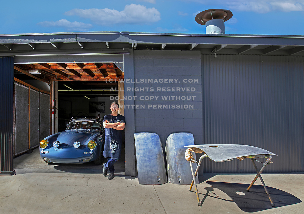 Image of Rod Emory with a blue allRad 1964 Porsche 356C body with an all-wheel-drive 1990 911 964 C4 chassis 356 outlaw at Emory Motorsports in Hollywood, California, America west coast by Randy Wells | Automotive Car Photographer | Filmmaker | Writer | Porsche | California | Santa Barbara | Seattle | Car Photograpy | Film | Video | Classic Car Oldtimer| | Dreamlike Landscapes | Studio | +1 425.644.6115