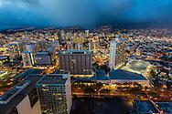 The city of Honolulu, Oahu, Hawaii at night