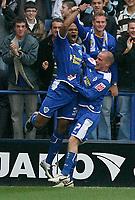 Photo: Steve Bond.<br /> Leicester City v Barnsley. Coca Cola Championship. 27/10/2007. Collins John (L) celebrates his goal with Iain Hume (R)