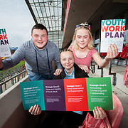 31.05.2018.          <br /> Limerick and Clare Education Training Board launch Youth Work Plan 2018-2021 at Thomond Park Limerick with Pat Breen TD, Minister of State with special responsibility for Trade, Employment, Business, EU Digital Single Market and Data Protection, Clare. <br /> <br /> Pictured at the event were, Thomas Kerrigan, Jacqueline Hogan and Nikita Fitzgerald, Limerick Youth Service. Picture: Alan Place