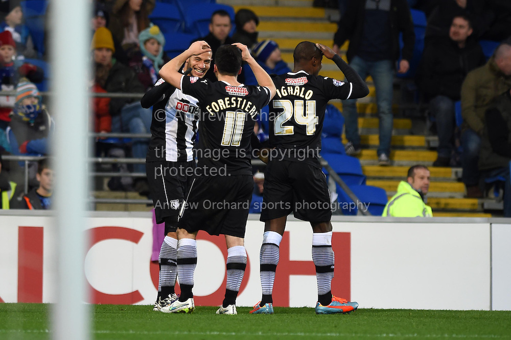 Watford's Adlene Guedioura (c) celebrates after he scores his teams 3rd  goal to make it 1-3.  Skybet football league championship match, Cardiff city v Watford at the Cardiff city stadium in Cardiff, South Wales on Sunday 28th December 2014<br /> pic by Andrew Orchard, Andrew Orchard sports photography.