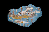 Mycenaean Fresco wall painting of a Wild Boar Hunt from the Tiryns, Greece. 14th - 13th Century BC. Athens Archaeological Museum.<br />  Black Background .<br /> <br /> If you prefer to buy from our ALAMY PHOTO LIBRARY  Collection visit : https://www.alamy.com/portfolio/paul-williams-funkystock/mycenaean-art-artefacts.html . Type -   Athens    - into the LOWER SEARCH WITHIN GALLERY box. Refine search by adding background colour, place, museum etc<br /> <br /> Visit our MYCENAEN ART PHOTO COLLECTIONS for more photos to download  as wall art prints https://funkystock.photoshelter.com/gallery-collection/Pictures-Images-of-Ancient-Mycenaean-Art-Artefacts-Archaeology-Sites/C0000xRC5WLQcbhQ