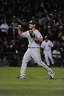 CHICAGO - October 6:  Grant Balfour of the Tampa Bay Rays reacts after recording the final out of the game against the Chicago White Sox at U.S. Cellular Field in Chicago, Illinois on October 6, 2008.  The Rays defeated the White Sox 6-2 to advance to the ALCS.  (Photo by Ron Vesely)