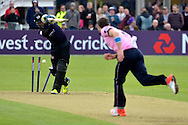 James Harris bowls Peter Handscomb during the NatWest T20 Blast South Group match between Gloucestershire County Cricket Club and Middlesex County Cricket Club at the Bristol County Ground, Bristol, United Kingdom on 15 May 2015. Photo by Alan Franklin.