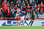 Carlisle United defender Danny Grainger celebrates scoring a goal during the EFL Sky Bet League 2 match between Morecambe and Carlisle United at the Globe Arena, Morecambe, England on 8 October 2016. Photo by Pete Burns.